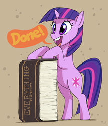 Size: 3447x4000 | Tagged: artist:docwario, atg 2017, book, bookhorse, female, impossibly large book, mare, natg, open mouth, pony, safe, smiling, solo, that pony sure does love books, twilight sparkle, unicorn