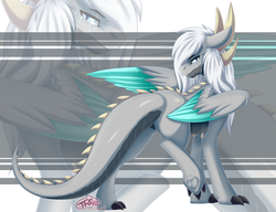 Size: 3000x2300 | Tagged: safe, artist:pinktabico, oc, oc only, dracony, dragon, hybrid, pony, abstract background, commission, crying, freckles, horns, male, scales, solo, underhoof, wings, zoom layer