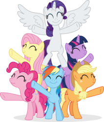 Size: 4182x4918 | Tagged: absurd res, alicorn, alicornified, applejack, artist:punzil504, best friends until the end of time, bipedal, earth pony, eyes closed, female, fluttershy, freckles, mane six, mare, pegasus, pinkie pie, pony, race swap, rainbow dash, raricorn, rarity, safe, simple background, smiling, transparent background, twilight sparkle, unicorn, unicorn twilight, vector