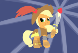 Size: 3496x2362 | Tagged: apple, applejack, artist:taurson, earth pony, female, food, hat, looking at you, mare, my little pony: the movie, pirate, pirate applejack, pirate hat, pony, safe, solo, sword, weapon