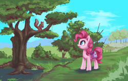 Size: 1500x947 | Tagged: safe, artist:egn, pinkie pie, pony, squirrel, atg 2017, bush, equestria daily exclusive, female, forest, nature, newbie artist training grounds, scenery, solo, tree
