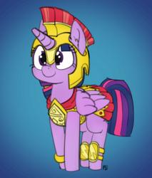 Size: 1280x1500   Tagged: safe, artist:certificate, artist:pabbley, twilight sparkle, alicorn, pony, armor, armor skirt, athena sparkle, clothes, costume, cute, female, mare, skirt, solo, twiabetes, twilight sparkle (alicorn)