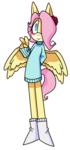 Size: 1319x2809 | Tagged: anthro, artist:moeclere, clothes, cute, fluttershy, mobian, safe, shyabetes, sonicified, sonic the hedgehog (series), sweater, sweatershy