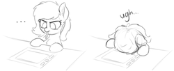 Size: 2798x1142 | Tagged: safe, artist:smoldix, oc, oc only, oc:filly anon, pony, ..., desk, dialogue, ear fluff, female, filly, frustrated, graphics tablet, grayscale, headdesk, monochrome, mouth hold, sketch, solo, tablet, tablet pen, ugh
