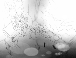 Size: 2952x2253 | Tagged: safe, artist:brainiac, daring do, oc, oc:piper, pony, fallout equestria, black and white, clothes, daring do poster, feather, grayscale, lineart, lingerie, monochrome, poster, raider, scar, sleeping, solo, traditional art