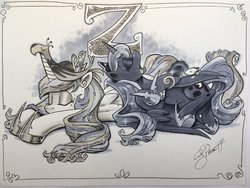 Size: 2048x1536 | Tagged: safe, artist:andypriceart, philomena, princess celestia, princess luna, tiberius, alicorn, opossum, phoenix, pony, cute, female, grayscale, majestic as fuck, mare, marker drawing, monochrome, pony pile, sisters, sleeping, tongue out, traditional art, z