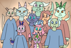 Size: 1203x818 | Tagged: artist:chiptunebrony, clothes, dragon, dragoness, easter egg, female, g3, g3 to g4, generation leap, graduation, mina, oc, oc:nameless, picture, robe, robes, safe, smiling, spike, student, students, whimsey weatherbe