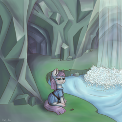 Size: 3000x3000 | Tagged: safe, artist:kysimon, boulder (pet), maud pie, rock solid friendship, cave, female, maud's cave, sitting, smiling, solo, waterfall, when she smiles