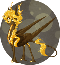Size: 2236x2400 | Tagged: safe, artist:australian-senior, oc, oc only, oc:cosmo invictus, alicorn, dracony, hybrid, kirin, pegasus, pony, kirindos, alternate universe, antlers, colored hooves, colored sclera, golden eyes, large wings, leonine tail, portal, portal (valve), portal 2, simple background, solo, space core, unshorn fetlocks, wings