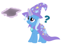 Size: 2868x2130   Tagged: safe, artist:mirrorcrescent, trixie, pony, unicorn, atg 2017, confused, female, frown, graduation, levitation, magic, mare, newbie artist training grounds, question mark, raised eyebrow, simple background, solo, telekinesis, transparent background, vector, worried