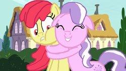 Size: 1191x670 | Tagged: safe, artist:ktd1993, apple bloom, diamond tiara, earth pony, pony, base used, diamondbloom, eyes closed, female, floppy ears, hug, lesbian, shipping