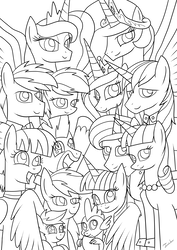 Size: 2480x3507 | Tagged: safe, artist:twidasher, bow hothoof, firefly, night light, princess cadance, princess celestia, princess luna, rainbow blaze, rainbow dash, scootaloo, shining armor, spike, twilight sparkle, twilight velvet, windy whistles, alicorn, dragon, female, fireblaze, flower, flower in hair, g1, g1 to g4, generation leap, hug, lesbian, lineart, male, monochrome, nightvelvet, rainbow dash's parents, scootalove, shipping, straight, twidash, twilight sparkle (alicorn), windyhoof, winghug