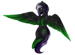 Size: 4000x2930   Tagged: safe, artist:mauuwde, oc, oc only, oc:jinx, pegasus, pony, chest fluff, colored wings, female, high res, mare, multicolored wings, solo