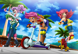 Size: 2400x1667 | Tagged: safe, artist:mauroz, apple bloom, scootaloo, spike, sweetie belle, human, adorabloom, amputee, armpits, bent over, bow, clothes, cloud, converse, cute, cutealoo, cutie mark crusaders, diasweetes, elbow pads, female, fingerless gloves, gloves, hair bow, humanized, jacket, knee pads, male, midriff, one eye closed, open mouth, pants, piggyback ride, prosthetic limb, prosthetics, roller skates, scooter, selfie, shirt, shoes, shorts, signature, sky, sneakers, socks, tree, wink