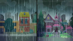 Size: 1920x1080 | Tagged: discovery family logo, eqg summertime shorts, equestria girls, house, monday blues, needs more jpeg, rain, safe, sci-twi, sci-twi's house, screencap, sunset's apartment, sunset shimmer, twilight sparkle