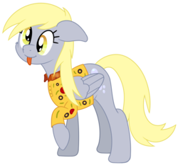 Size: 1676x1562 | Tagged: safe, artist:djdavid98, derpy hooves, pegasus, pony, atg 2017, clothes, female, floppy ears, mare, newbie artist training grounds, polo shirt, shirt, simple background, smiling, tongue out, transparent background