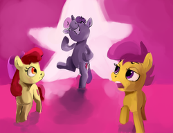 Size: 3000x2300 | Tagged: safe, artist:toisanemoif, apple bloom, scootaloo, sweetie belle, pony, bipedal, cutie mark crusaders, grin, smiling