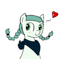 Size: 640x600   Tagged: safe, artist:ficficponyfic, artist:methidman, color edit, edit, oc, oc only, oc:emerald jewel, pony, colt quest, bandana, blushing, child, color, colored, colt, cute, femboy, foal, heart, heart attack inducing art, hnnng, male, pigtails, simple background, smiling, solo, white background