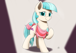 Size: 2000x1400 | Tagged: safe, artist:j24262756, coco pommel, earth pony, pony, clothes, cocobetes, cute, female, looking at you, mare, modeling, one eye closed, smiling, solo, wink