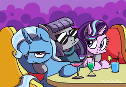 Size: 1000x691 | Tagged: safe, artist:foudubulbe, maud pie, starlight glimmer, trixie, pony, unicorn, comic:damp rocks, blushing, clothes, cocktail glass, drink, facehoof, female, glass, lesbian, mare, maud gets all the mares, mauxie, ot3, shipping, starmauxie, startrix, sunglasses, table, trio, wine glass