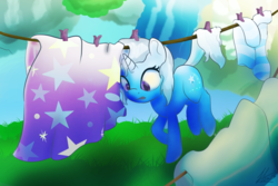 Size: 1200x800 | Tagged: safe, artist:klemm, trixie, pony, unicorn, atg 2017, cape, clothes, clothes line, female, laundry, mare, newbie artist training grounds, socks, solo, striped socks