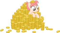 Size: 2405x1333 | Tagged: artist:sonofaskywalker, bits, cute, discordant harmony, earth pony, female, loadsamoney, mare, money, pony, raspberry vinaigrette, safe, simple background, solo, transparent background, vector