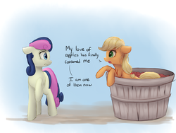 Size: 1133x850 | Tagged: safe, artist:vanillaghosties, applejack, bon bon, sweetie drops, earth pony, pony, apple, applejack becoming an apple, atg 2017, bucket, confused, cute, dialogue, duo, eye contact, featured image, female, floppy ears, food, frown, funny, gradient background, hatless, jackabetes, leaning, looking at each other, mare, missing accessory, newbie artist training grounds, raised hoof, silly, silly pony, that pony sure does love apples, wat, who's a silly pony, wide eyes