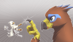 Size: 3600x2070 | Tagged: safe, artist:mykegreywolf, oc, oc only, oc:der, oc:saewin, griffon, commission, cute, fight, griffon oc, looking at each other, micro, toothpick, weapon