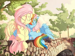 Size: 3500x2600 | Tagged: safe, artist:nobody47, fluttershy, rainbow dash, pegasus, pony, bridge, cuddling, cute, dashabetes, eyes closed, featured image, female, floppy ears, flutterdash, hug, lesbian, mare, nap, outdoors, resting, shipping, shyabetes, sitting, snuggling, spread wings, stray strand, tree, weapons-grade cute, winghug, wings