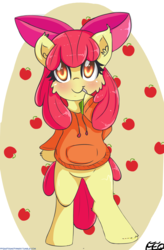 Size: 2582x3945 | Tagged: safe, artist:freefraq, apple bloom, semi-anthro, adorabloom, apple, apple bloom's bow, bow, clothes, cute, female, filly, food, hair bow, juice, juice box, red hair, red tail, smiling, sweater
