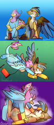 Size: 1278x2941 | Tagged: safe, artist:doqfood, oc, oc only, oc:gertrude, oc:gyro feather, oc:gyro tech, griffon, comic, floating, griffonized, inflatable, inflation, pool toy, pounce, pump, species swap, tackle