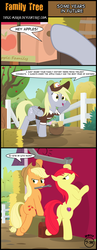 Size: 2424x6239 | Tagged: safe, artist:toxic-mario, apple bloom, applejack, derpy hooves, pony, the perfect pear, apple tree, barn, clothes, comic, gutter, hat, hay bale, mail, mailbag, mailbox, mailmare, older, plot, sweet apple acres, teenage apple bloom, tools, tree, uniform, wrench