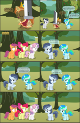 Size: 4551x7001 | Tagged: absurd res, alicorn, apple, apple bloom, apple tree, artist:cyanlightning, buster sword, buttoncorn, button mash, colt, comic, comic:cyan's adventure, cutie mark crusaders, earth pony, female, filly, final fantasy, final fantasy vii, food, king button mash, male, oc, oc:cyan lightning, pegasus, pony, rule 63, rumble, safe, scootaloo, shady daze, .svg available, sweetie belle, sword, tree, unicorn, vector, weapon