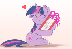 Size: 3000x2048 | Tagged: safe, artist:ncmares, twilight sparkle, pony, unicorn, atg 2017, book, bookhorse, cheek fluff, chest fluff, cute, eyes closed, female, filly, filly twilight sparkle, floppy ears, gradient background, heart, hug, newbie artist training grounds, sitting, smiling, solo, that pony sure does love books, twiabetes, underhoof, unicorn twilight, younger