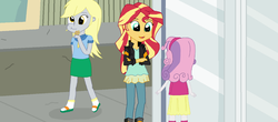 Size: 1600x706 | Tagged: safe, artist:thomaszoey3000, derpy hooves, sunset shimmer, sweetie belle, equestria girls, clothes, cute, food, hairband, jacket, leather jacket, muffin, sandals, skirt, socks