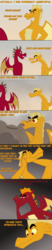 Size: 600x2883 | Tagged: safe, artist:queencold, garble, oc, oc:caldera, oc:maximus, dragon, ask caldera, ask, burn, comic, dialogue, dragon oc, dragoness, dust, female, gray background, male, mother and son, parents:oc x oc, sick burn, simple background, teenaged dragon, tumblr, wind, younger