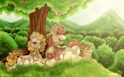 Size: 1024x640 | Tagged: apple, applejack, apple tree, artist:inuhoshi-to-darkpen, baby, baby pony, big macintosh, brightbutter, bright mac, canon couple, chest fluff, colt, colt big macintosh, dappled sunlight, earth pony, family, female, filly, filly applejack, food, male, mare, pear butter, pony, pregnant, prone, safe, scenery, shipping, stallion, straight, sweet apple acres, the perfect pear, tree, younger