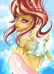 Size: 900x1238 | Tagged: safe, artist:white-nephilim, sunset shimmer, equestria girls, daydream shimmer, looking at you, solo