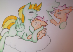 Size: 939x660   Tagged: safe, artist:zalla661, lightning dust, scootaloo, pegasus, pony, big sister, blushing, cloud, eyes closed, female, filly, grooming, headcanon, hug, mare, my big sister lightning dust, scootalove, siblings, sisterly love, sisters, traditional art