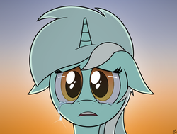 Size: 1337x1010   Tagged: safe, artist:manual-monaro, lyra heartstrings, pony, unicorn, bust, crying, cute, d:, female, floppy ears, gradient background, looking at you, lyrabetes, open mouth, portrait, sad, sky, solo, sunset