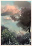 Size: 1325x1878 | Tagged: artist:clockworkquartet, cloud, female, fluttershy, looking at you, mare, pegasus, plant, pony, safe, scenery, sky, smiling, solo, tree