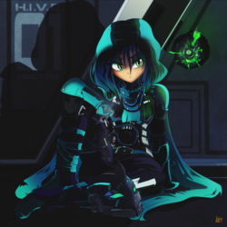 Size: 1500x1500 | Tagged: safe, artist:ruhisu, queen chrysalis, human, armor, cape, cigarette, clothes, crossover, destiny (game), eyeshadow, hoodie, humanized, makeup, slit eyes