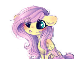 Size: 2500x2000 | Tagged: safe, artist:whiteliar, fluttershy, pony, :p, blushing, chest fluff, colored wings, cute, ear fluff, eye clipping through hair, female, floppy ears, folded wings, looking at something, looking away, shyabetes, simple background, sitting, solo, tongue out, two toned wings, white background