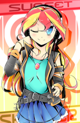 Size: 786x1215 | Tagged: safe, artist:banzatou, sunset shimmer, human, belt, clothes, cute, female, geode of empathy, headphones, humanized, jacket, leather jacket, looking at you, magical geodes, moe, one eye closed, shirt, skirt, smiling, solo, wink