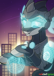 Size: 1500x2117   Tagged: safe, artist:redchetgreen, oc, oc only, oc:kiva, pony, robot, robot pony, armor, building, city, female, hologram, looking at you, mare, night, smiling, solo, stars, tech armor, visor, ych result