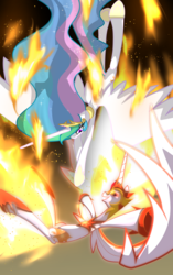 Size: 2200x3500 | Tagged: alicorn, a royal problem, artist:geraritydevillefort, daybreaker, duo, female, fire, flying, mare, pony, princess celestia, safe, spoiler:s07e10