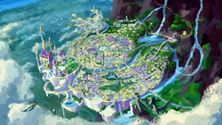 Size: 2002x1126 | Tagged: safe, artist:plainoasis, pegasus, pony, airship, background, canterlot, canterlot castle, castle, citadel, city, cloud, cloudy, mountain, no pony, river, scenery, scenery porn, sketch, statue, wallpaper, water, waterfall, wip
