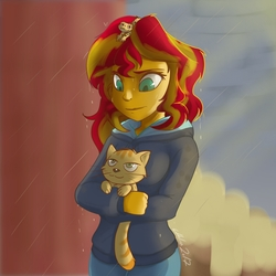 Size: 1172x1172   Tagged: safe, artist:gabbslines, ray, sunset shimmer, cat, gecko, leopard gecko, eqg summertime shorts, equestria girls, monday blues, pet project, clothes, female, hoodie, pants, rain, sweater