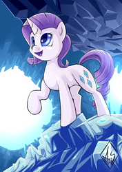 Size: 1240x1748 | Tagged: safe, artist:sea-maas, rarity, pony, unicorn, caves, female, happy, mare, raised hoof, smiling, solo