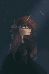 Size: 2193x3327 | Tagged: safe, artist:orfartina, oc, oc only, oc:orfartina, pony, unicorn, bust, cloak, clothes, coat, female, looking up, mare, night, portrait, smiling, solo, starry night, stars